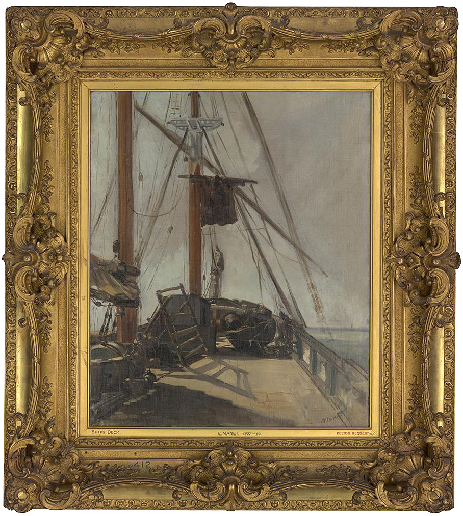 Edouard Manet (1832-83), The ship's deck, c.1860, 56.4 x 47 cm., National Gallery of Victoria, Melbourne, Felton Bequest, 1926, in previous Louis XV frame