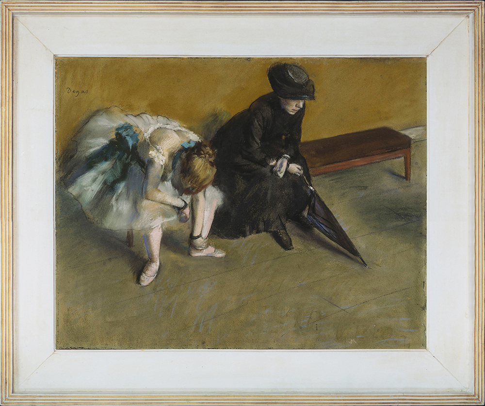 Edgar Degas (1834-1917), Waiting (L'attente), c.1882, pastel on paper, 48.3 x 61 cm., 19 x 24 ins, inreplica Degas frame. The J. Paul Getty Museum, Los Angeles, owned jointly with the Norton Simon Art Foundation, Pasadena.