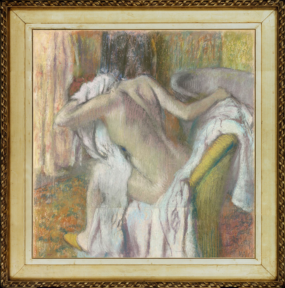 Edgar Degas(1834-1917), After the bath: woman drying herself, c.1890-95, pastel on paper, 40 3/4 x 38 3/4 ins, in replica Camondo frame. © The National Gallery, London