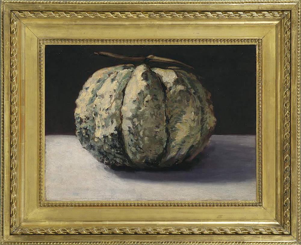 Edouard Manet (1832-83), The melon, c.1880, o/c, 12 3/4 x 17 1/4 ins, in replica Durand-Ruel frame. National Gallery of Victoria, Melbourne, Acc. No. 2026.3